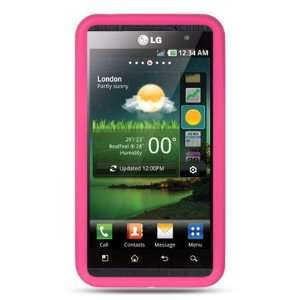 HOT PINK Soft Rubber Silicone Skin Cover Case for LG