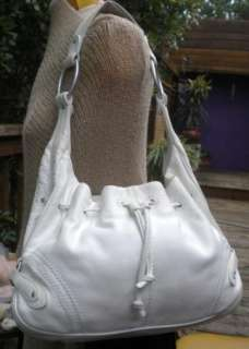 Sigrid Olsen Soft Thick White Leather Hobo Bag Purse