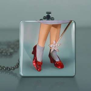 Wizard Oz Ruby Slippers Glass Tile Necklace Pendant 310