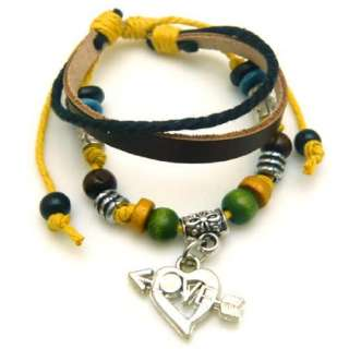 Men/Women Teen Leather Bracelet skull cross angel love