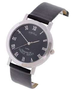NOS Paolo Gucci Mens Black Dial Watch with Black Strap