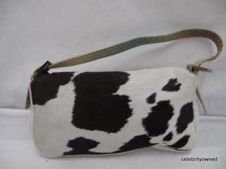 Fendi Animal Hair Cow Print/Green Ombre Snake Skin Strap Bag