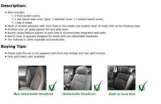 Universal Seat Cover Black With Integrated Seat Belts