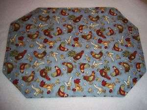 Fabric Placemats ROOSTER CHICKEN DUCK farm blue