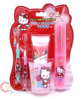 Sanrio Hello Kitty Tooth Brush Set with Cup /Case  5PC