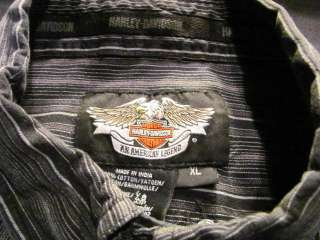 HARLEY DAVIDSON MENS XL L/S BLACK WHITE STRIPED SHIRT