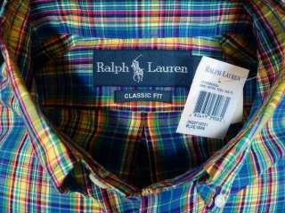 NWT Polo Ralph Lauren Blue Plaid Pony Dress Shirt New S