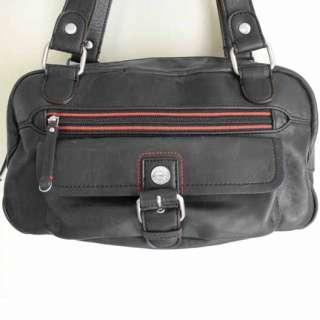 HILFIGER Black Faux Leather w Red Trim Purse Satchel Shoulder Bag NWOT