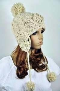 Wool Lady Winter Ski Hat Cap Vintage Floral String Balls Beige