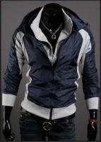 NEW Mens Fashion Korean Vision Hit Color Casual Hooded Jacket Dark