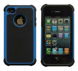 Blue Rugged Rubber Matte Hard Case Cover For iPhone 4G 4S w/ Screen