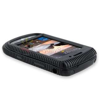 Black Hybrid Double Layer Gel Rubber Case Cover for BlackBerry Torch