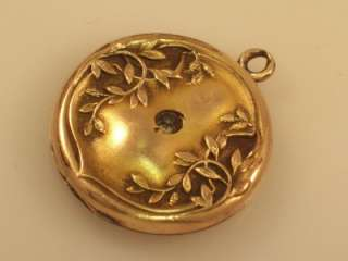 ANTIQUE VICTORIAN GOLD FILL PASTE STONE VINE DESIGN LOCKET FOB CHARM