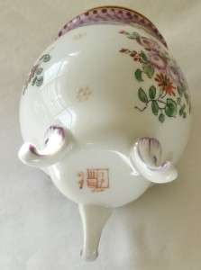 Antique FRENCH Porcelain Brass SAMSON INK POT ink pot VGC Hand Painted