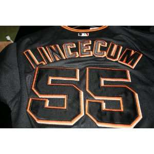 Tim Lincecum San Francsico Giants Black Jersey Majestic World