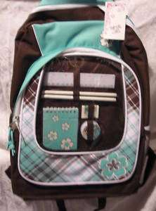 Total Girl Nice Green/Brown Backpack w/School Supplies