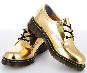 Metallic Low Cut Boots US 7~10 / Mans Shiny Patent Military Lace Shoes