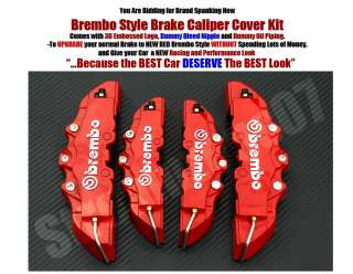 Red Brembo Style Universal Disc Brake Caliper Covers 4pcs Front and
