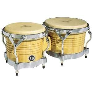 LP Matador M201 AWC Wood Bongos (Natural, Chrome) Musical