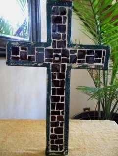 Decorative Wood / Ceramic Wall Cross   Western Decor