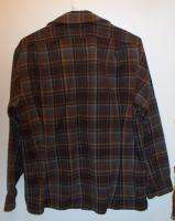 Pendleton 100% Virgin Wool Womens Pleated Brown Plaid Flannel Shirt