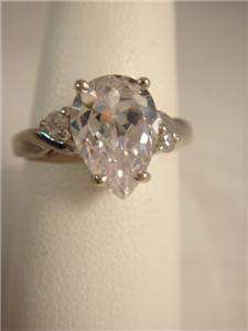 Gold Ring Pear Shape CZ 1 1/2 Carat Sz. 7 White Gold 2.7 grams *WOW