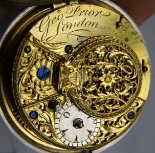RRR Antique George Prior Verge Fusee triple silver case watch&fob