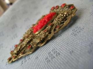 VINTAGE JEWELLERY LARGE FILIGREE DRESS CLIP RUBY RED RHINESTONES 1920s