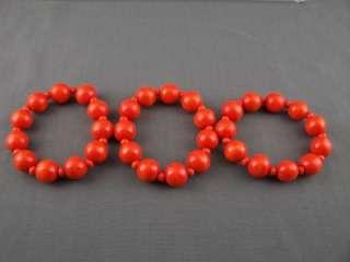 Orange wood wooden set 3 stretch bead bracelets beaded