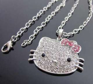 Hello Kitty Pink bowknot crystal pendant necklace xmas gift for lover