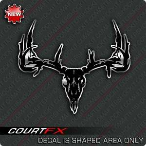 Deer Skull Sticker Black Silver Decal