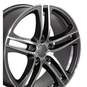 R8 Style Wheel with Machined Face Fits Audi   Gunmetal