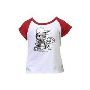 Baseball Glove Design African Amer Girl Red Tee
