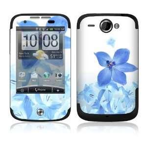 HTC WildFire Skin Decal Sticker   Blue Neon Flower