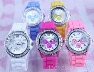 1Pcs Unisex Geneva Silicone Jelly Gel Quartz Analog Sports Wrist Watch