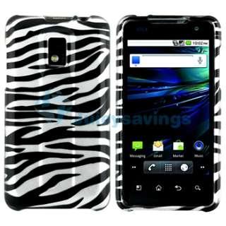 For LG T Mobile G2X Black Silver Zebra Hard Case Cover+Privacy LCD+Car