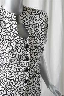 OSCAR DE LA RENTA Black & White Floral Skirt Suit 4/6
