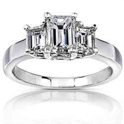 14k White Gold 1 5/8ct TDW Emerald cut Diamond Engagement Ring ( H I