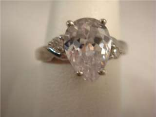 Vintage 10K Gold Ring Pear Shape CZ 1 1/2 Carat Sz. 7 White Gold 2.7