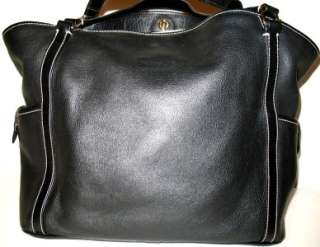 Pebbled Leather Black X Large Tote Bag w/Accessories EUC