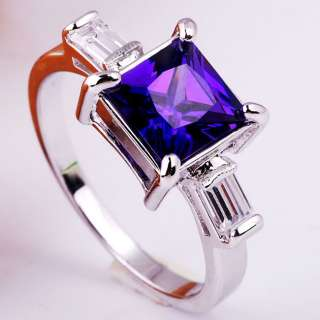 Square Stone Purple Amethyst Crystal Lady Fashion Ring Size 8 Jewelry