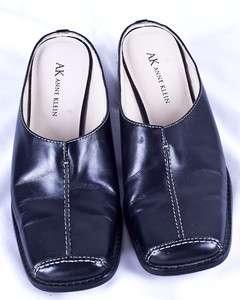 Anne Klein MAPOPPY Black Leather Slip On Mule Slides Womens Shoes 6M