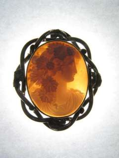 LOVELY ANTIQUE GOLD CARVED SHELL CAMEO PIN BROOCH BACCHANTE c1870