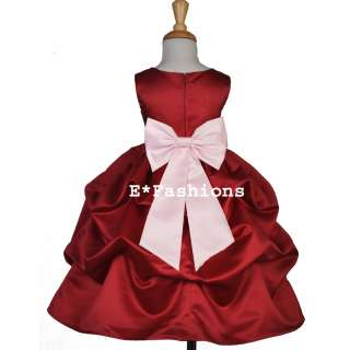 APPLE RED PINK PAGEANT WEDDING BRIDAL FLOWER GIRL DRESS 6 9M 12 18M 2