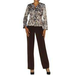 Womens Plus Size Belted Animal Print Pant Suit