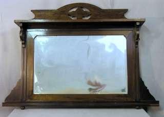 Antique Mahogany OverMantle Beveled Mirror Shelf c1910