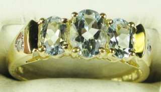14k Yellow Gold 1.57ctw Genuine VVS Aquamarine & Diamond Ring