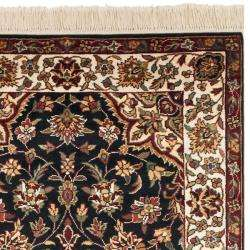 Asian Hand knotted Royal Kerman Black/ Ivory Wool Rug (26 x 12