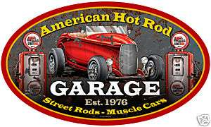 American Hot Rod Garage auto Large oval metal sign