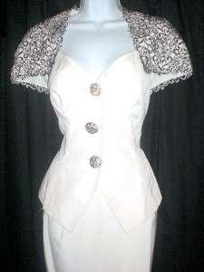 VTG open CUTOUT WEDDING SKIRT SUIT DRESS Small gown sweetheart mini